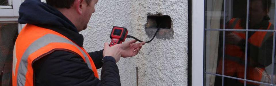 wall tie survey using endoscope