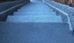 External staircase after application of Polyac Rapid, rapid cure, anti-slip, waterproof coating.