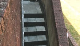 External staircase prior to removal on non-slip tiles
