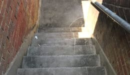 external staircase during removal of non-slip tiles