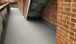External walkway following application of Polyac Rapid, rapid cure, waterproof, anti-slip coating.