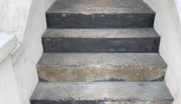 Loose material removed from steps